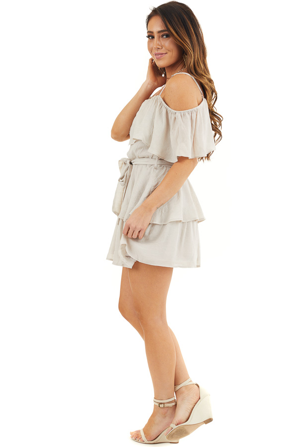 Oatmeal Cold Shoulder Woven Mini Dress with Ruffle Details side full body