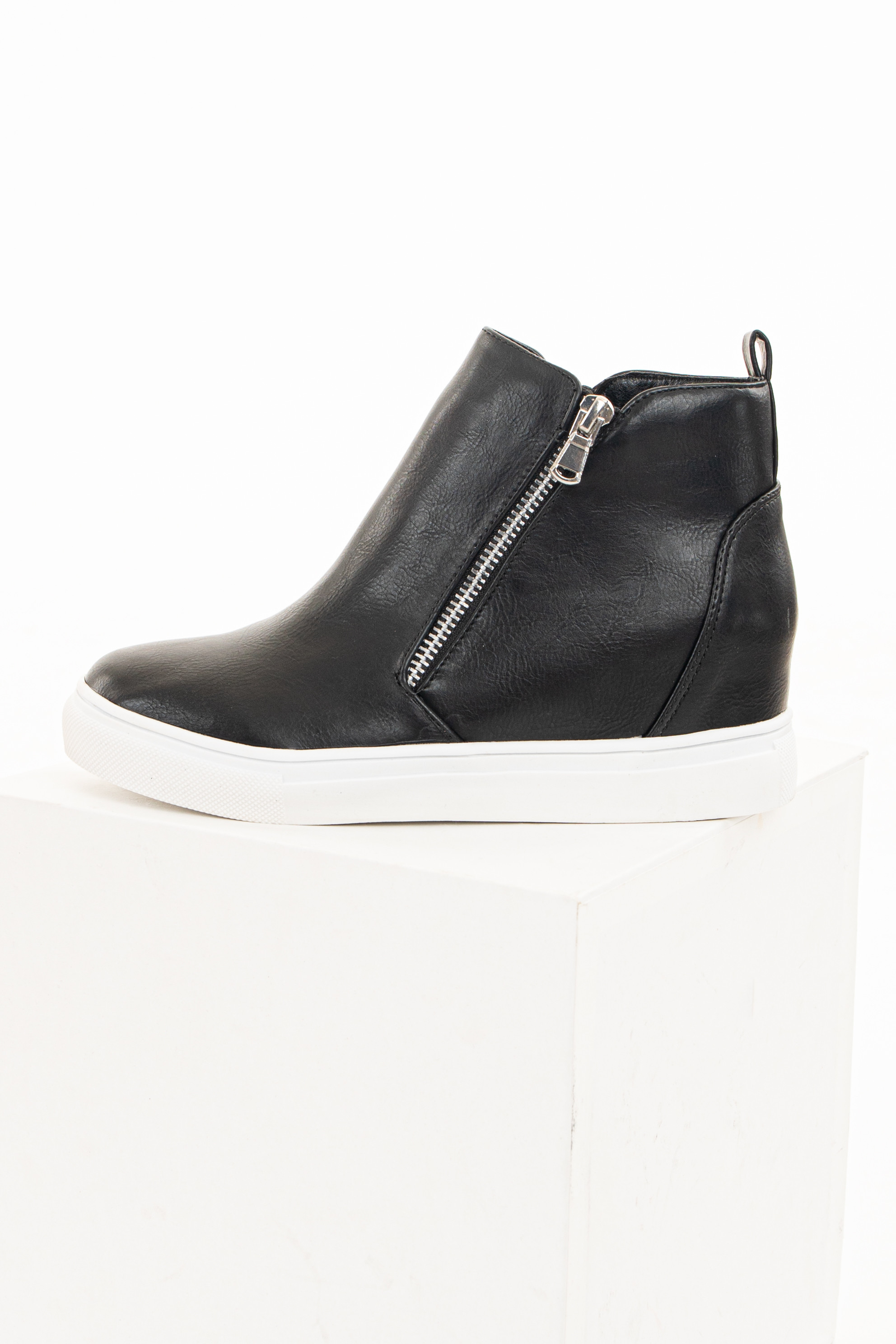 Matte Black Faux Leather Sneaker Wedges with Zipper Closure