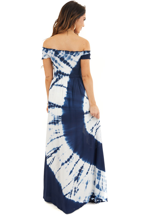 Navy Blue and White Tie Dye Off Shoulder Smocked Maxi Dress back full body