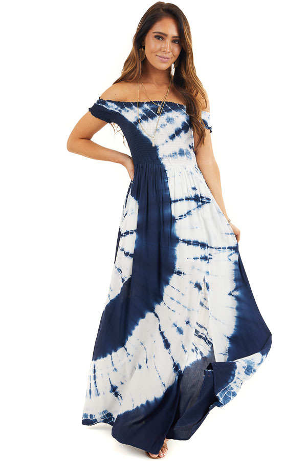 Navy Blue and White Tie Dye Off Shoulder Smocked Maxi Dress front full body