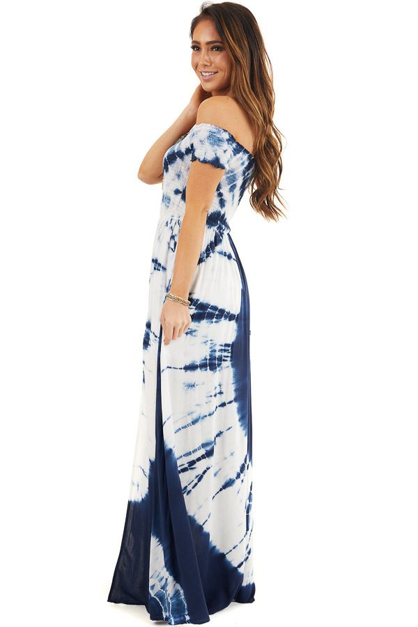 Navy Blue and White Tie Dye Off Shoulder Smocked Maxi Dress side full body