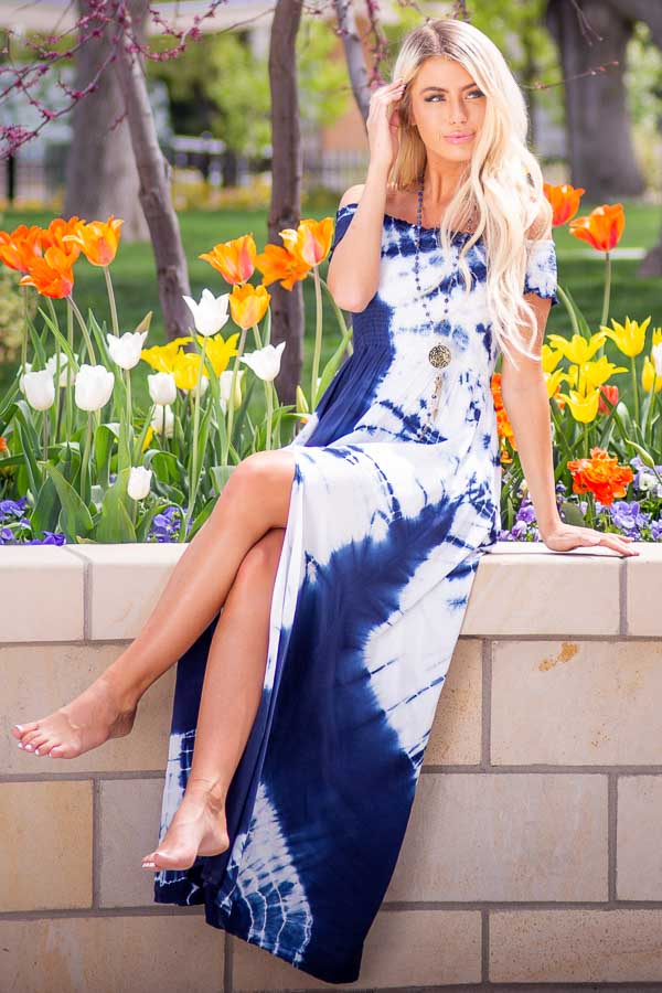 Navy Blue and White Tie Dye Off Shoulder Smocked Maxi Dress