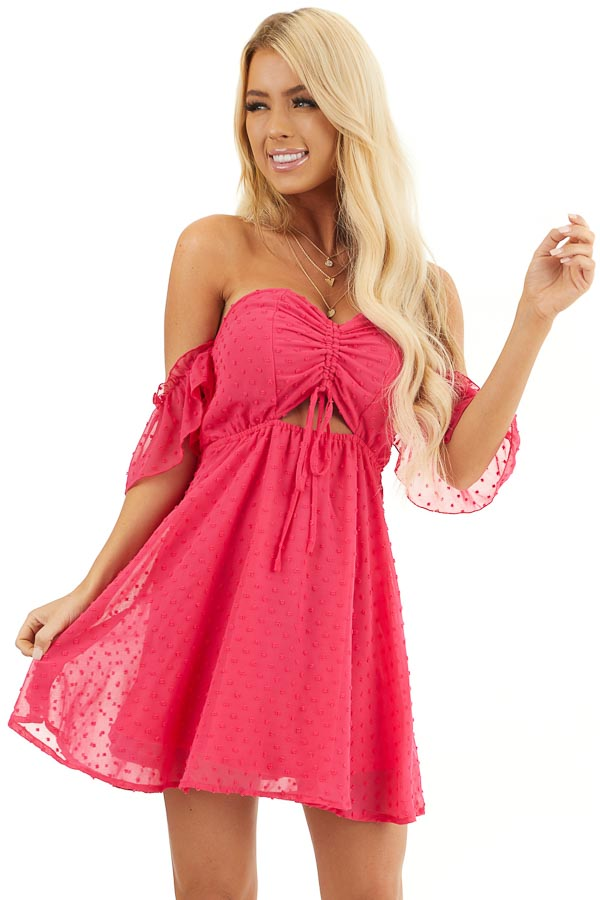 Bright Pink Swiss Dot Off Shoulder Mini Dress with Ruching front close up