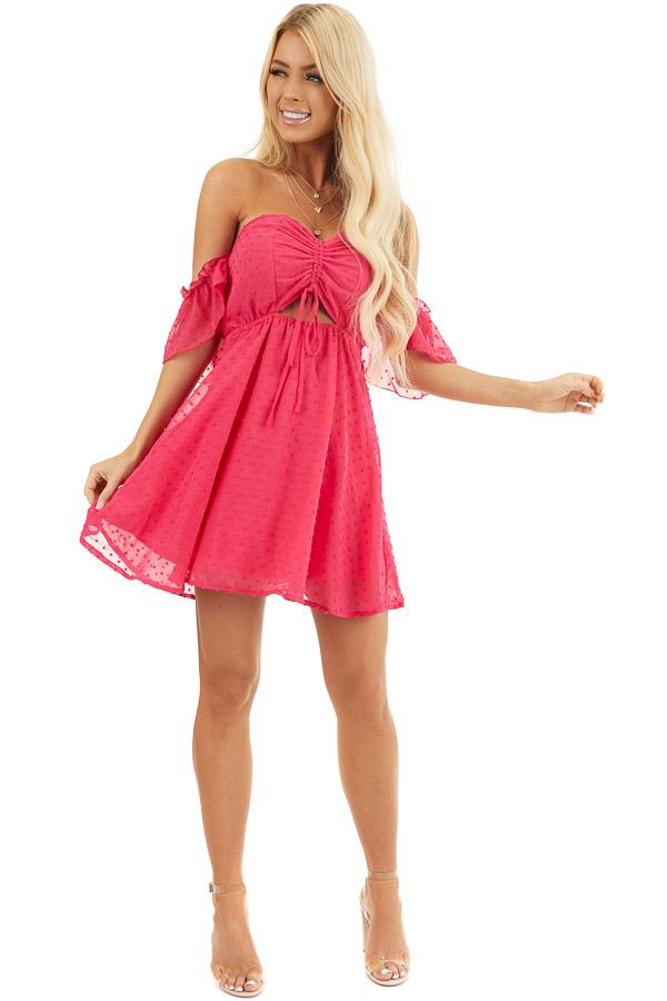 Bright Pink Swiss Dot Off Shoulder Mini Dress with Ruching front full body