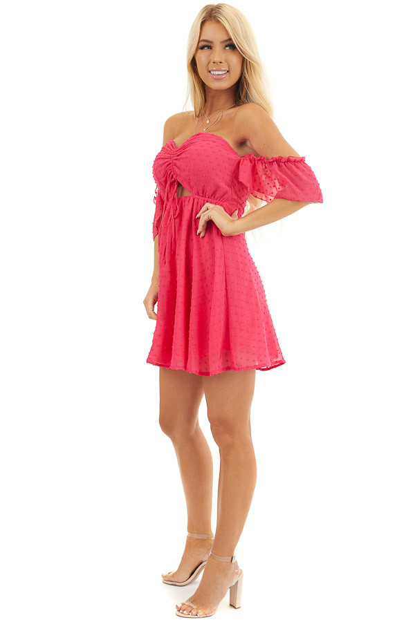 Bright Pink Swiss Dot Off Shoulder Mini Dress with Ruching side full body
