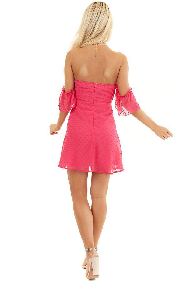 Bright Pink Swiss Dot Off Shoulder Mini Dress with Ruching back full body