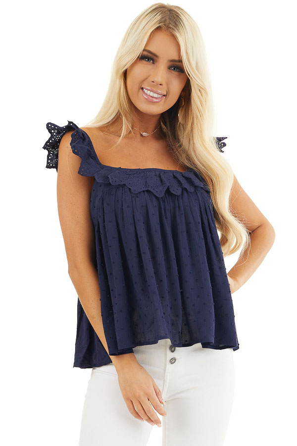 Navy Swiss Dot Sleeveless Top with Scalloped Overlay front close up