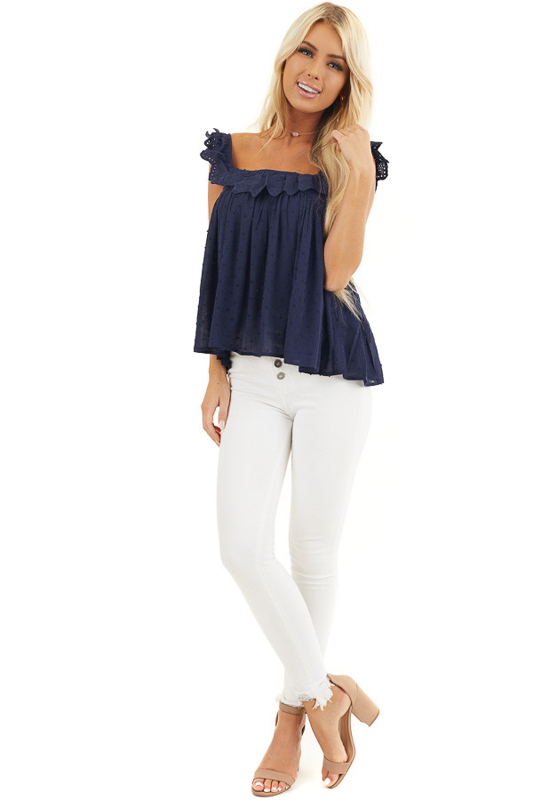 Navy Swiss Dot Sleeveless Top with Scalloped Overlay front full body
