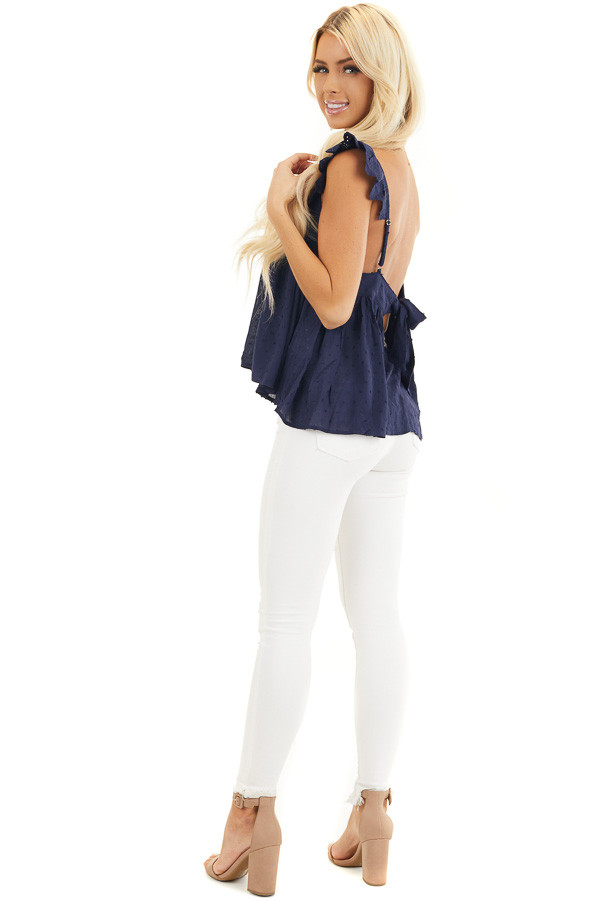Navy Swiss Dot Sleeveless Top with Scalloped Overlay side full body