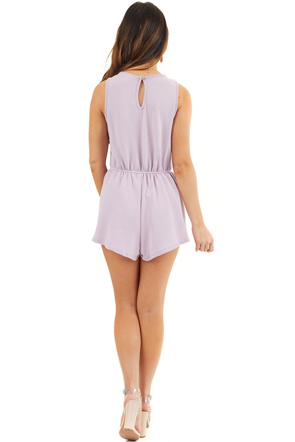 Lavender Ribbed Knit Romper with Elastic Waistband with Tie back full body