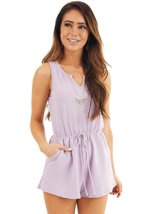 Lavender Ribbed Knit Romper with Elastic Waistband with Tie front close up
