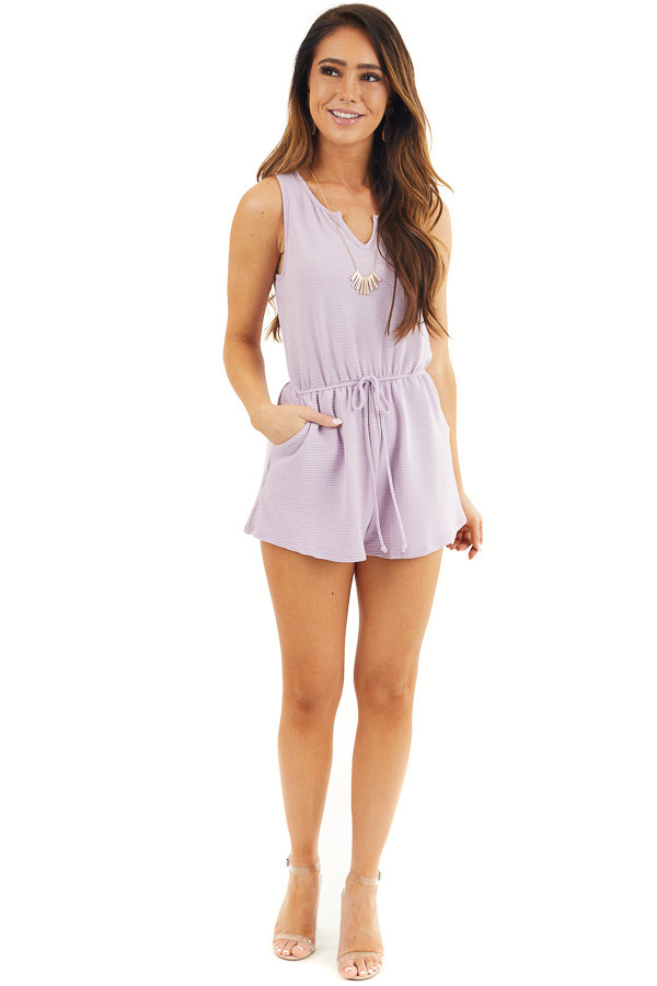 Lavender Ribbed Knit Romper with Elastic Waistband with Tie front full body