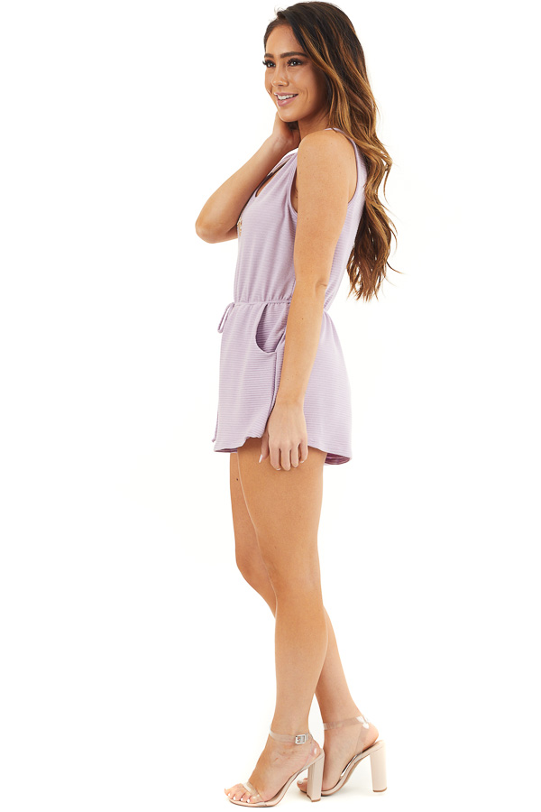 Lavender Ribbed Knit Romper with Elastic Waistband with Tie side full body