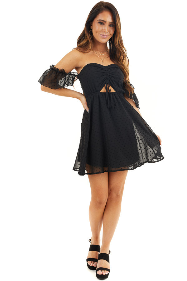 Black Swiss Dot Off Shoulder Mini Dress with Ruching front full body