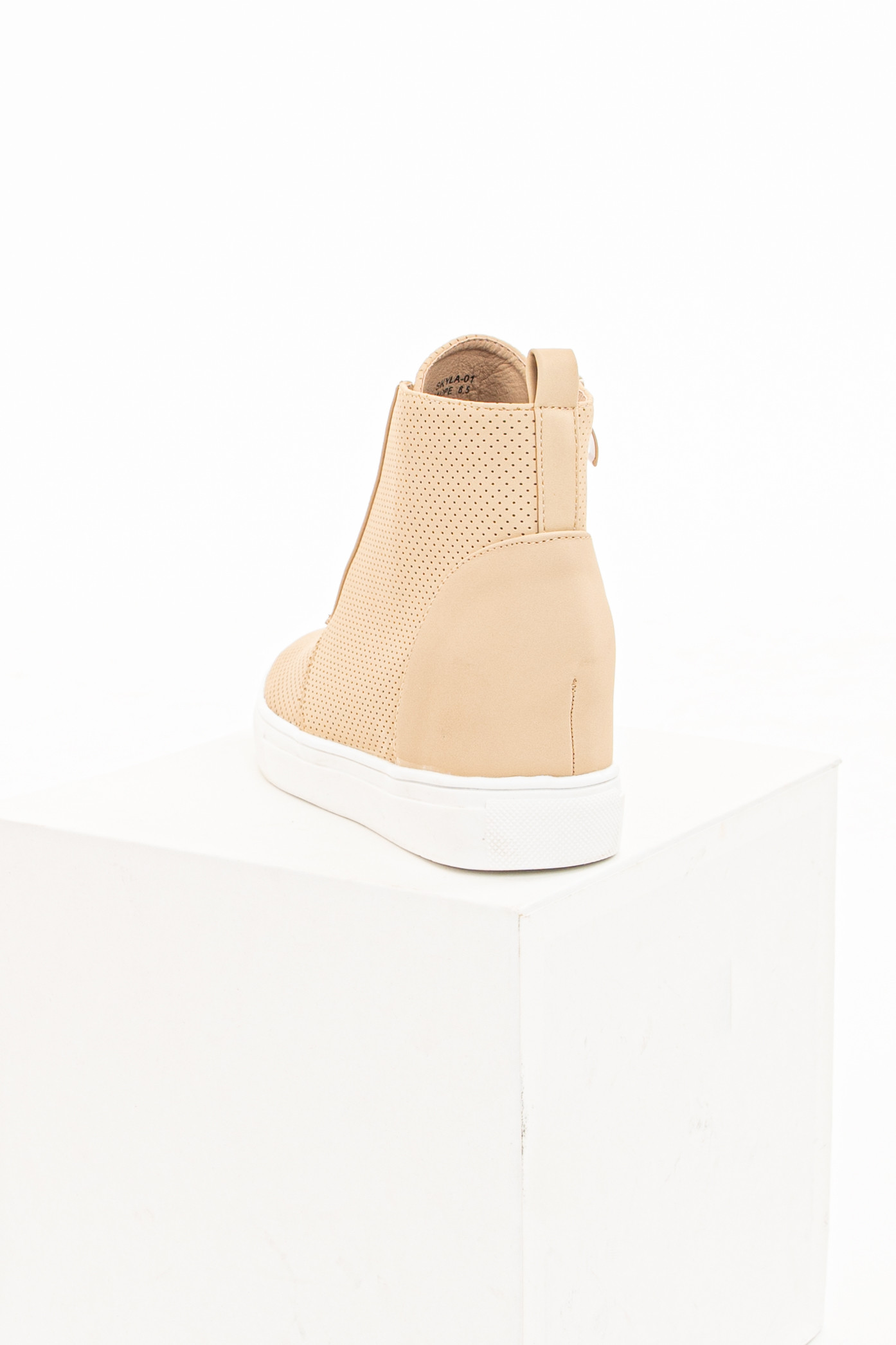 Beige Faux Leather Perforated Sneaker Wedges