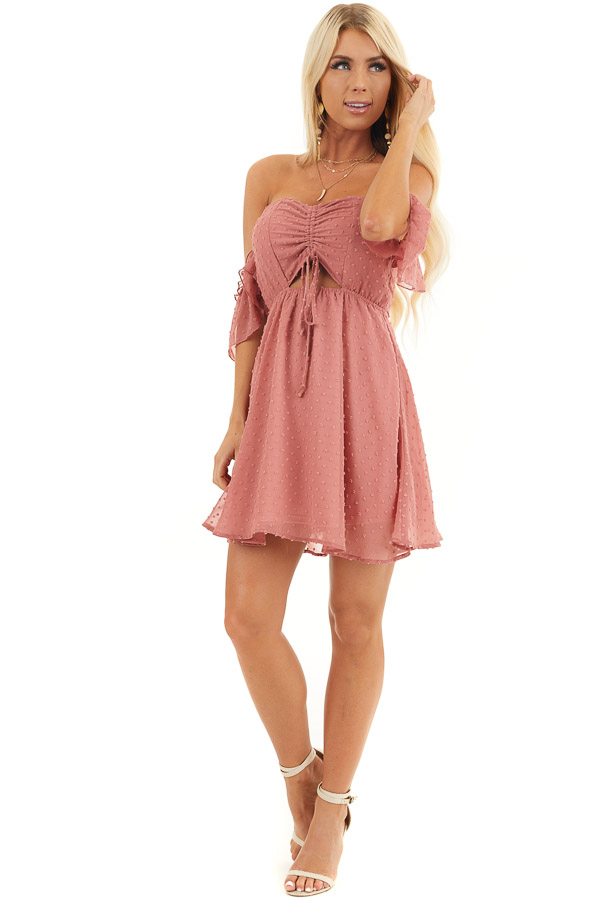 Dusty Rose Swiss Dot Off Shoulder Mini Dress with Ruching front full body