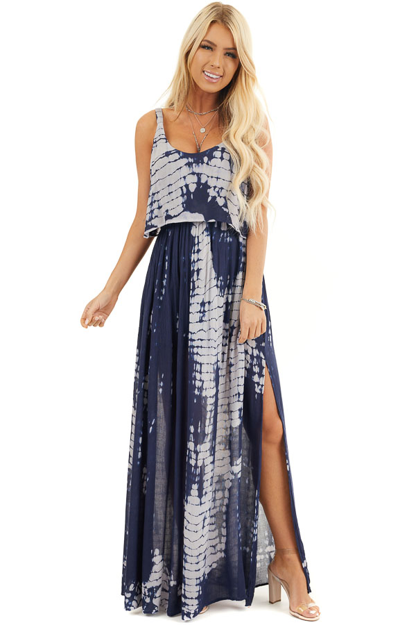 Navy and Slate Blue Tie Dye Dress with Overlay Detail front full body