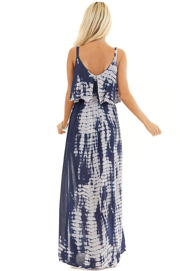 Navy and Slate Blue Tie Dye Dress with Overlay Detail back full body