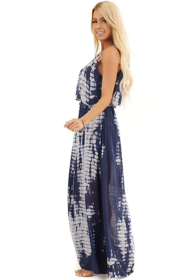 Navy and Slate Blue Tie Dye Dress with Overlay Detail side full body