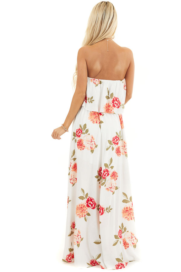 Off White Floral Print Strapless Maxi Dress with Overlay and Tie back full body