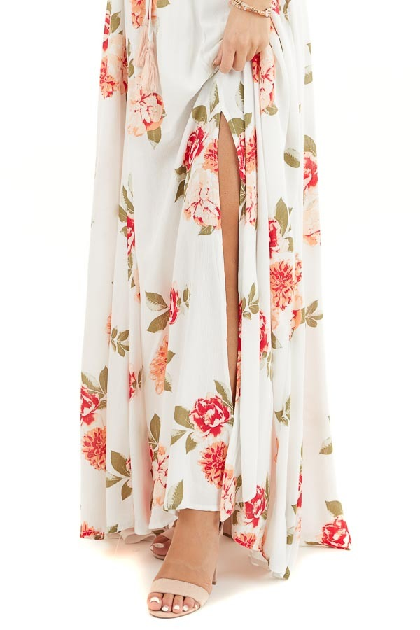 Off White Floral Print Strapless Maxi Dress with Overlay and Tie detail