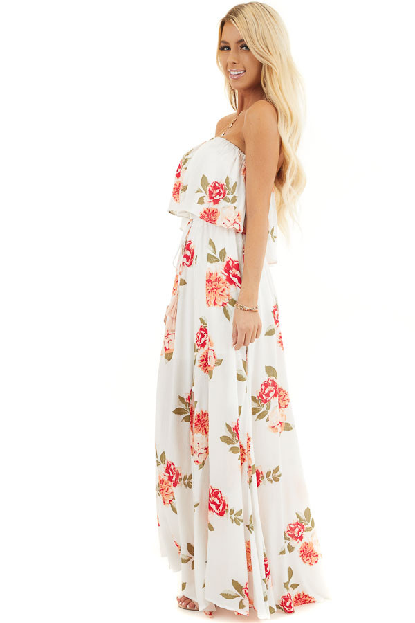 Off White Floral Print Strapless Maxi Dress with Overlay and Tie side full body