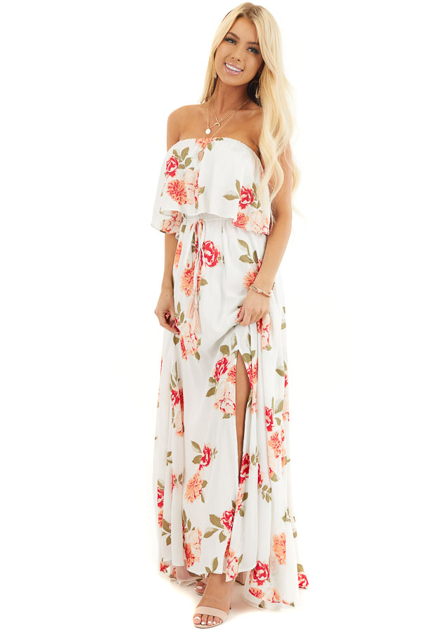 Off White Floral Print Strapless Maxi Dress with Overlay and Tie front full body