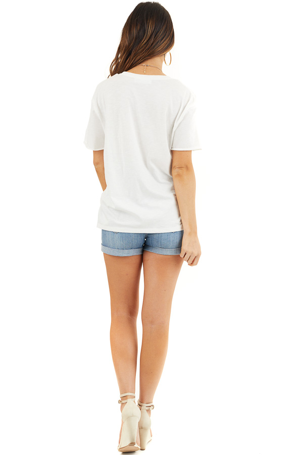 Off White Short Sleeve Knit Top with Raw Edge Details back full body