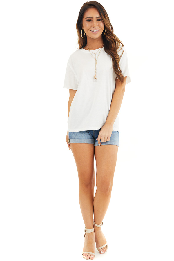 Off White Short Sleeve Knit Top with Raw Edge Details front full body