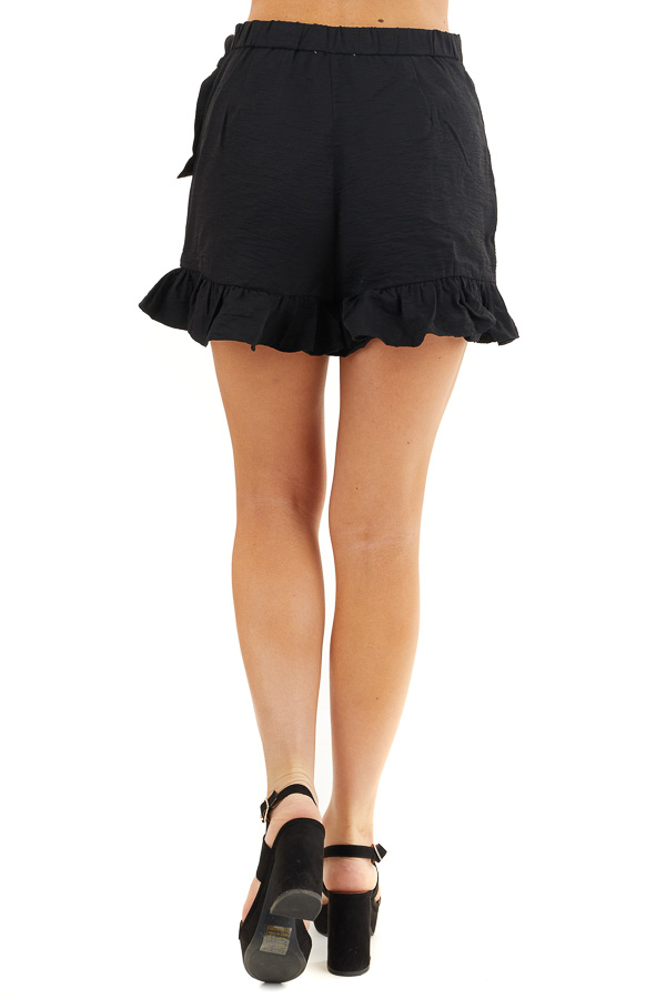 Solid Black Ruffle Shorts with Wrap Skirt Overlay back view