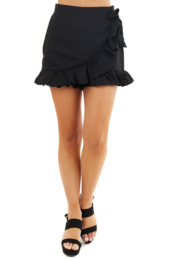 Solid Black Ruffle Shorts with Wrap Skirt Overlay front view