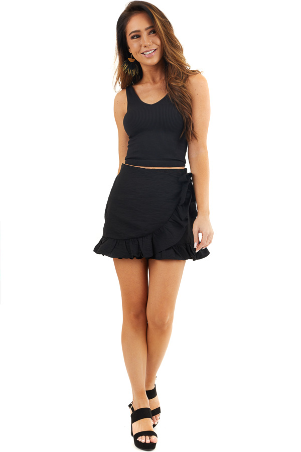 Solid Black Ruffle Shorts with Wrap Skirt Overlay front full body