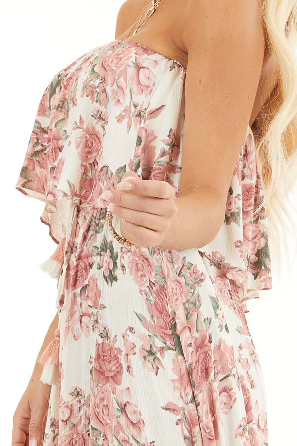 Cream and Dusty Blush Floral Strapless Dress with Waist Tie detail