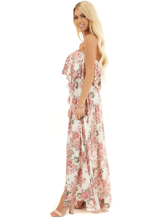 Cream and Dusty Blush Floral Strapless Dress with Waist Tie side full body