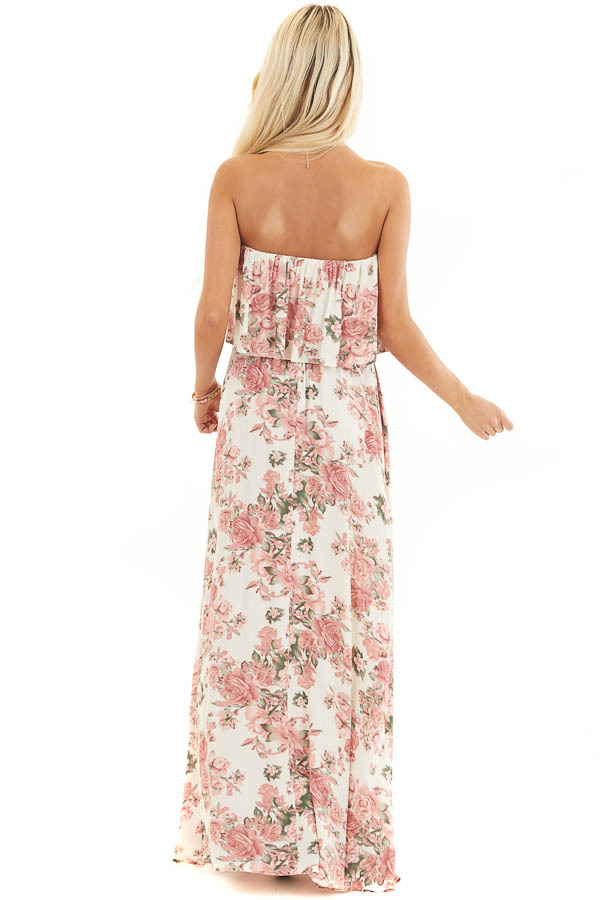 Cream and Dusty Blush Floral Strapless Dress with Waist Tie back full body