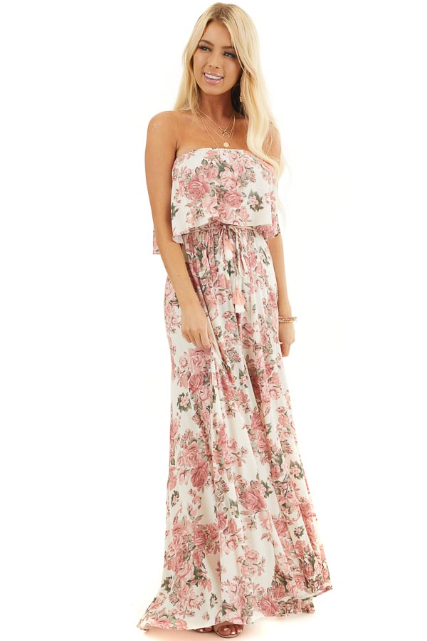 Cream and Dusty Blush Floral Strapless Dress with Waist Tie front full body