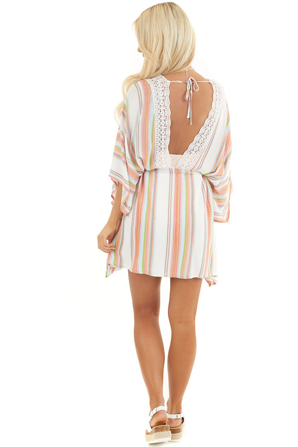Multicolor Striped Mini Dress with Short Kimono Sleeves back full body