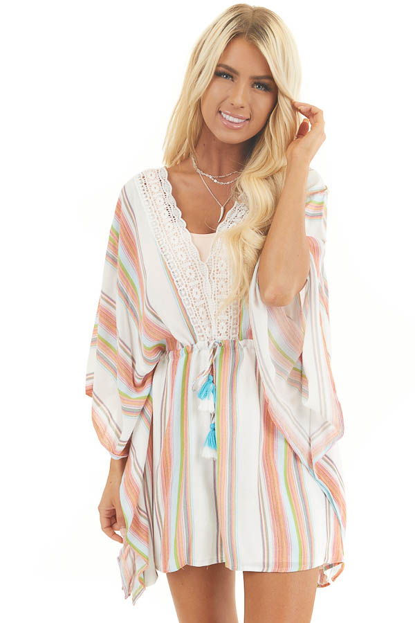 Multicolor Striped Mini Dress with Short Kimono Sleeves front close up