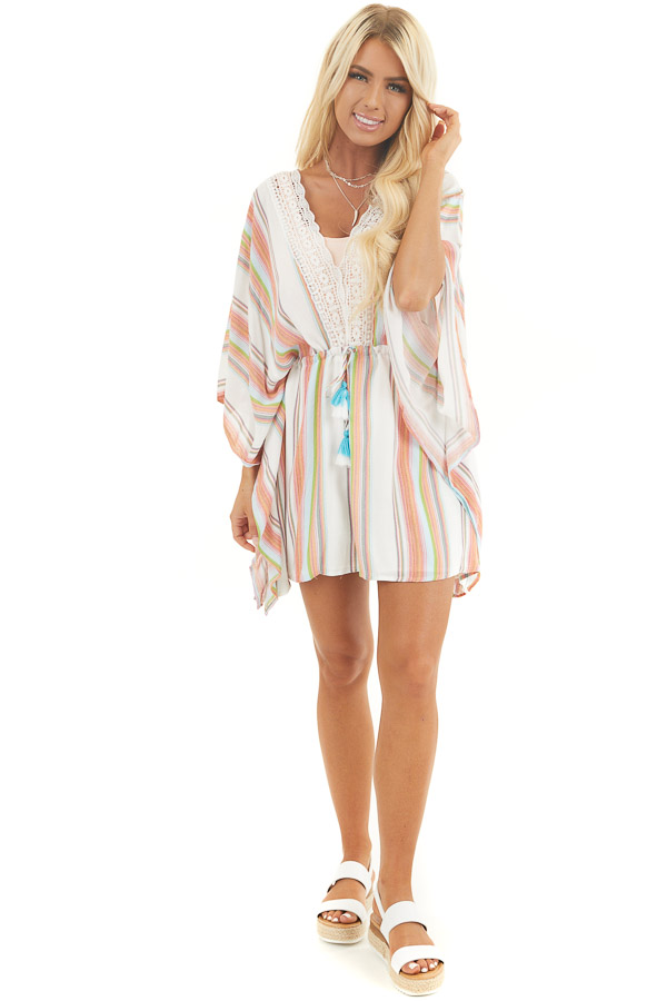 Multicolor Striped Mini Dress with Short Kimono Sleeves front full body