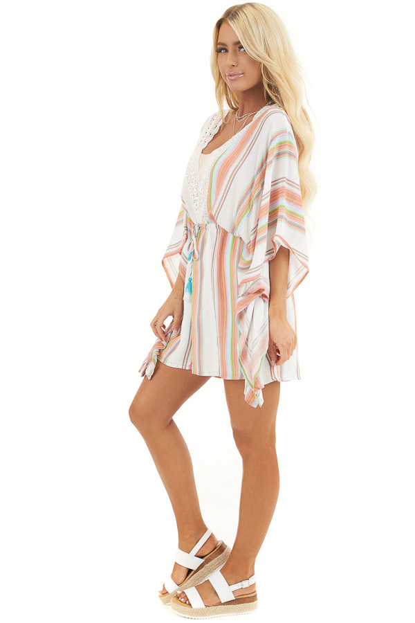 Multicolor Striped Mini Dress with Short Kimono Sleeves side full body