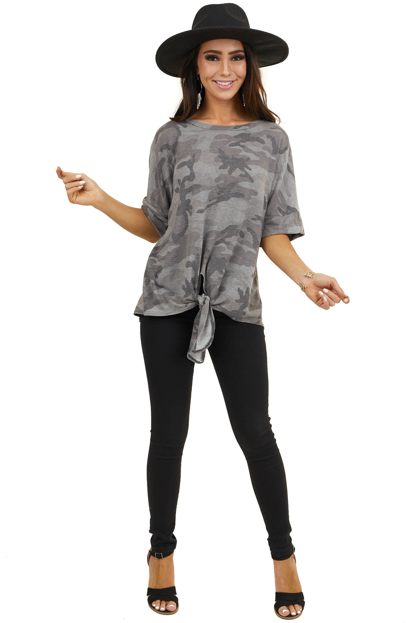Stormy Grey Camo Short Sleeve Top with Front Knot Detail