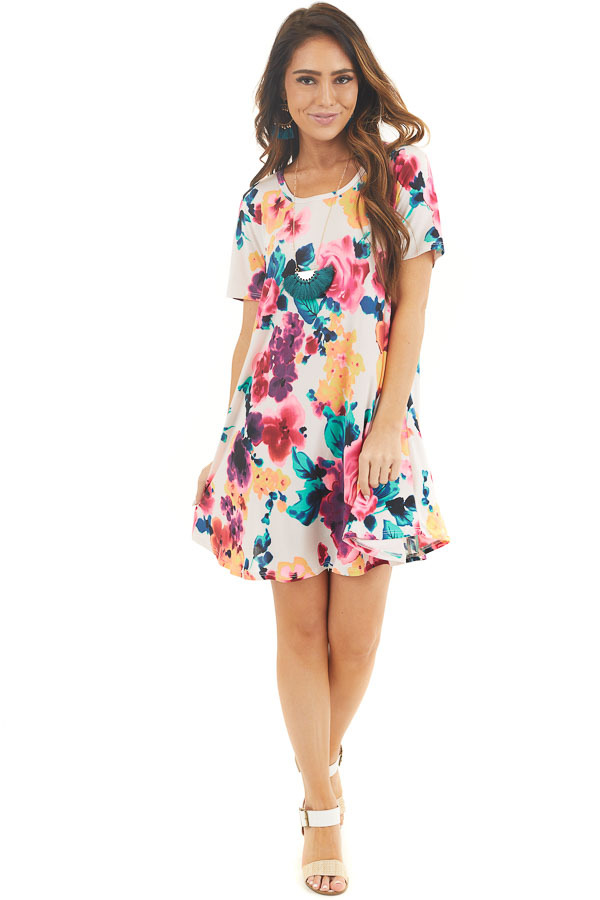 Ivory Floral Lightweight Swing Dress with Short Sleeves front full body