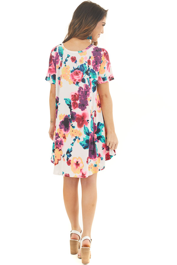Ivory Floral Lightweight Swing Dress with Short Sleeves back full body