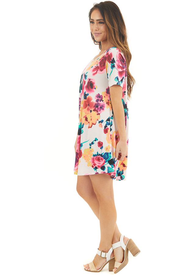 Ivory Floral Lightweight Swing Dress with Short Sleeves side full body