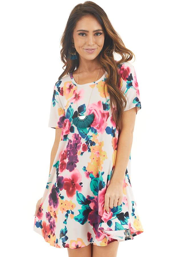 Ivory Floral Lightweight Swing Dress with Short Sleeves front close up