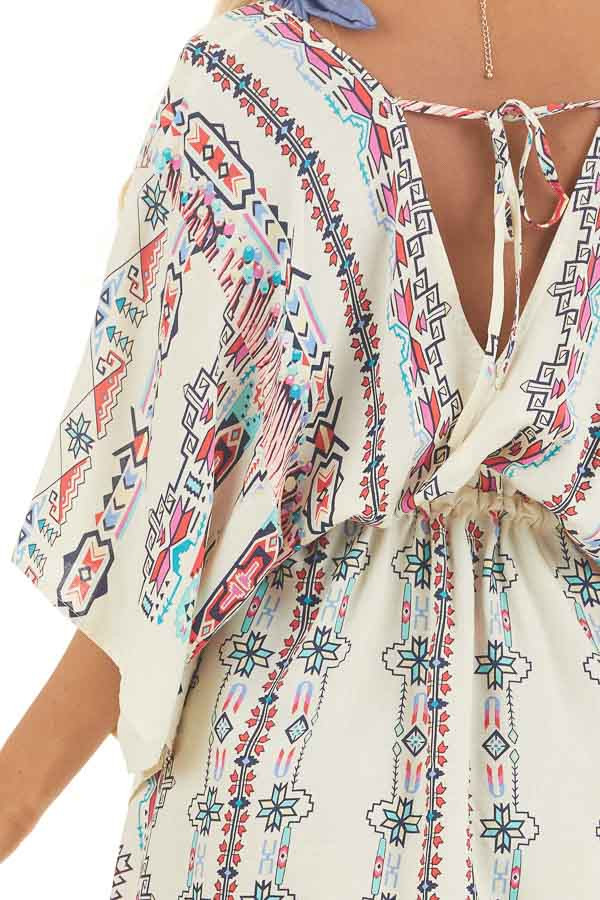 Champagne Multicolor Print Swimsuit Cover Up with Waist Tie detail