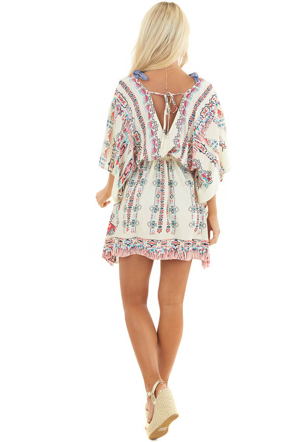 Champagne Multicolor Print Swimsuit Cover Up with Waist Tie back full body
