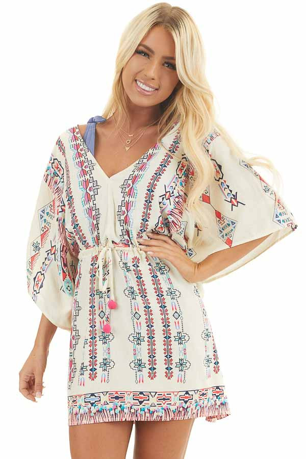 Champagne Multicolor Print Swimsuit Cover Up with Waist Tie front close up