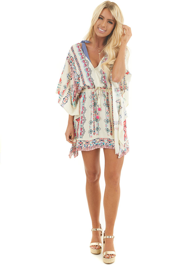 Champagne Multicolor Print Swimsuit Cover Up with Waist Tie front full body