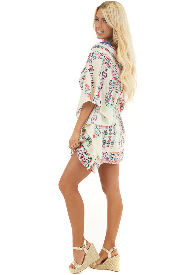 Champagne Multicolor Print Swimsuit Cover Up with Waist Tie side full body